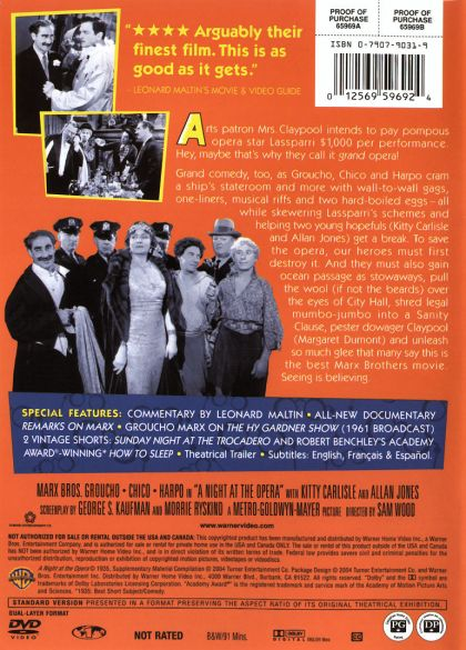 Amazoncom: A Night at the Opera: Groucho Marx, Chico Marx